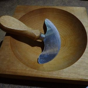 Herb Cutter w/Stainless Steel Blade Wood Bowl